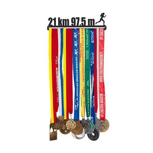 Porte-médaille Porte-médaille - Nom : 21 km 97,5 m pour Femmes - 28 cm - Médailles de Suspension : jusqu'à 20 - Acier recouvert de Poudre Noire.