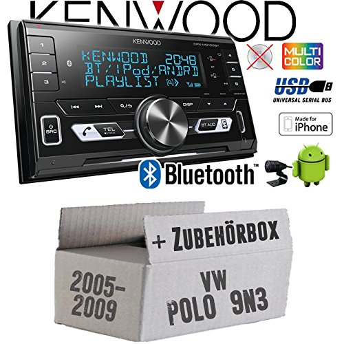 Autoradio Radio Kenwood DPX-M3100BT - 2-DIN Bluetooth USB VarioColor Einbauzubehör - Einbauset für VW Polo 9N3 - JUST SOUND best choice for caraudio