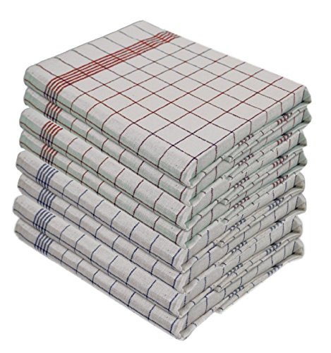 Set di 10 strofinacci - 100% cotone lavabile a 95 ° - resistenti all'ebollizione - Misure 50 x 70 cm, colore 5 blu e 5 rossi