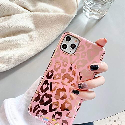 FYMIJJ Funda de teléfono Brillante de Grano de Leopardo para iPhone 12 Mini 11 Pro MAX X XR XS MAX 7 8 Plus SE 2020 Hermosa Carcasa de Espejo Rosa, Rosa, para iPhone 11 Pro