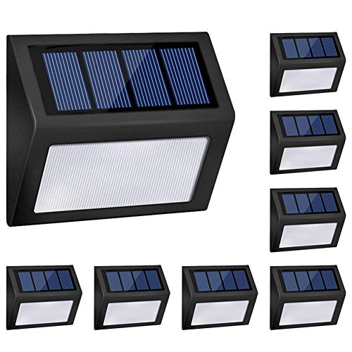 LED Solar Lights Outdoor, Honor-Y Solar Powered Step Lights Wireless Waterproof Outdoor Security Lamps Lighting for Front Door/Back Yard/Driveway/Garage/Outdoor Wall (White Light, 8 Pack)
