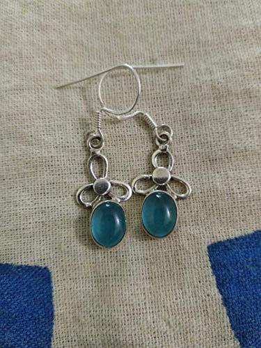 Blue Chalcedony Earrings, 925 Silver Earrings, Christmas Day Gift Jewelry, Vintage Earrings, Wedding & Engagement Earrings, Gift For All, Extraordinary Earrings, Attract Love Jewelry, Mermaid Gift