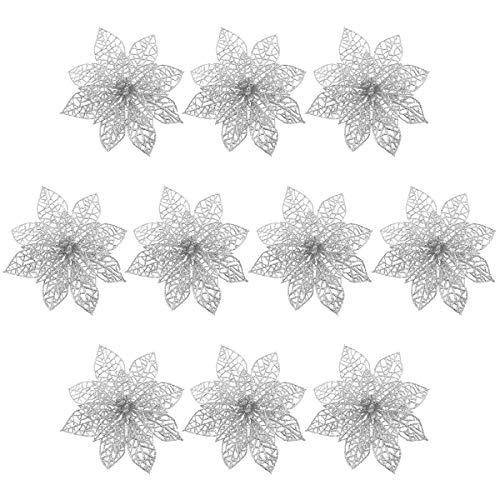 decorazioni natalizie argento WINOMO Fiori artificiali per la decorazione albero di natale Fiori glitter d'argento (10pcs)