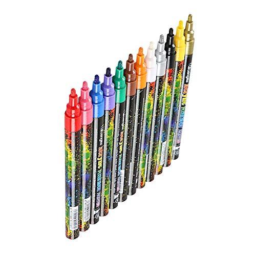 MagiDeal 12 Bolígrafos de Pintura Acrílica, 12 Marcadores de Color, Punta Fina de 2 Mm para Pintura de Roca