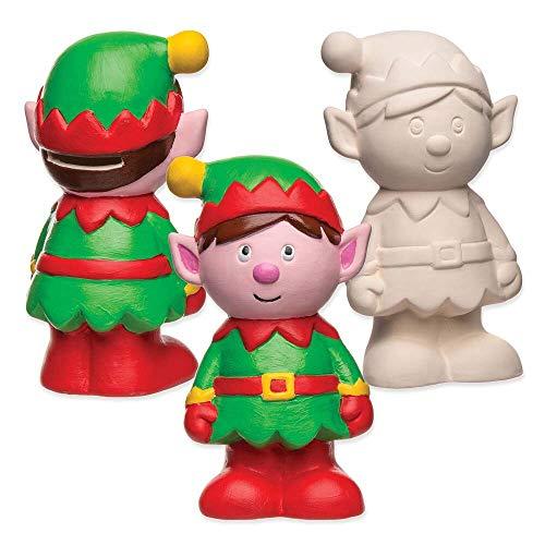 Baker Ross Huchas de Cerámica en Forma de Duende de Navidad (Pack de 2) Para Manualidades y Decoraciones Navideñas Infantiles