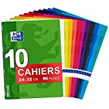 Oxford OpenFlex - Lot de 10 Cahiers 24 x 32cm 96 Pages Grands Carreaux Seyès Couverture Polypro Ouverture Facile Coloris Assortis