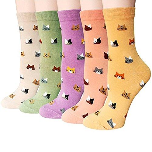Hishiny 5 pares Calcetines Algodón mujer Calcetines la algodón Cómodo y Respirable del tejido absorbe el sudor, Calcetines de algodón, cómodos, con diseños de gatos (Gatito)