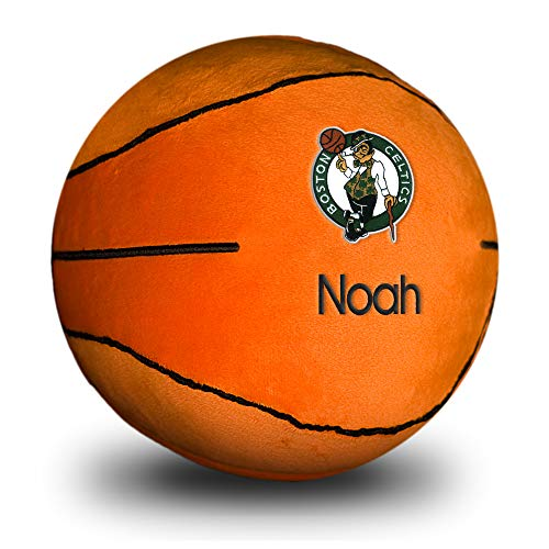 Designs by Chad and Jake Boston Celtics Baby Plush Basketball - Personalized Baby Name Embroidery with Official NBA Logos, 100% Polyester, Mini, Machine Washable, Baby Ball Plush Toy