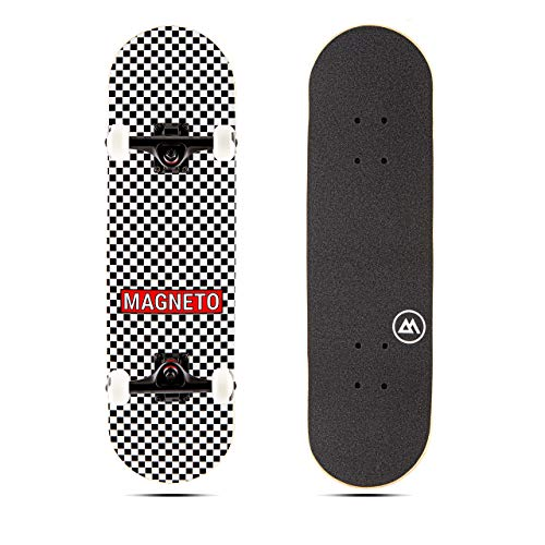 Magneto Kids Skateboard | Maple Deck with Components - Designed for Kids and Teens (Checkered)