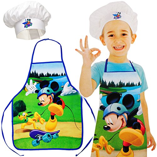 alles-meine.de GmbH 2 TLG. Set: Kinderschürze + Kochmütze -  Disney - Mickey Mouse & Hund Pluto  - Größenverstellbar - fleckabweisend - Schürze / Mädchen & Jungen - beschichtet..