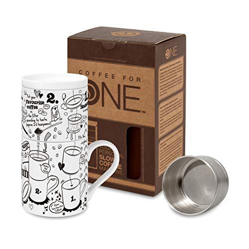 Könitz Experts Guide Coffee for One Kaffeefilterset, 3-TLG, Becher, Tasse, Aufsatz, Edelstahlfilter, Porzellan, 370 ml, 11 5 618 2327