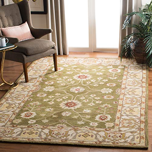 Safavieh Anatolia Collection AN562D Handmade Traditional Oriental Moss and Ivory Wool Area Rug (5' x 8')