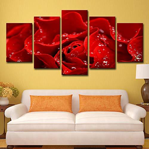 Marco 5 Piezas Flor de rosa roja Imagen de arte de pared Decoración moderna del...