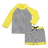 Design Inc. 幼児用, ラッシュガ-ド,シャツ、ショットパンツ、セット、50+日焼予防(セットS 0-6m,星)