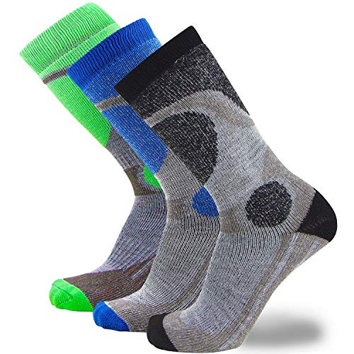 Elite Ski Socks for Boys and Girls - Kids Merino Wool Youth Snowboard and Skiing Socks - Junior Warm Winter Sock (S/M, 3 Pairs - Black-Neon Green-Blue)