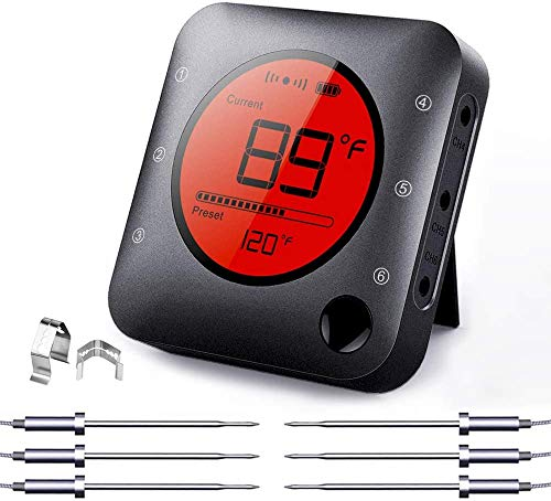 NeeQi Bluetooth Fleischthermometer, kabellos, ferngesteuert, digitales Grillthermometer mit 6 Edelstahl-Sonden, Monitor, App für Grillen, Kochen, Smoker, Küche, Ofen