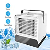 HAPPEEY Personal Air Cooler, Potable Air Conditioner Fan USB Space Cooler, Noiseless Mini Desktop Misting Fan with Handle Design, 3-1 Functions & Night Light (White)
