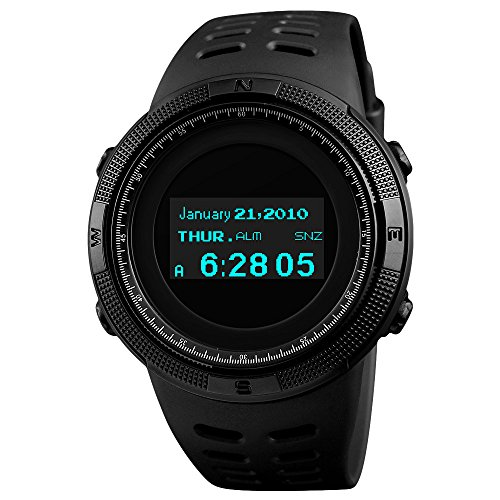 SKMEI Men's Digital Sports Watch OLED Screen Military Outdoor Survival Waterproof Wrist Watch with Dual Time Zone Compass Pedometer Thermometer Stopwatch