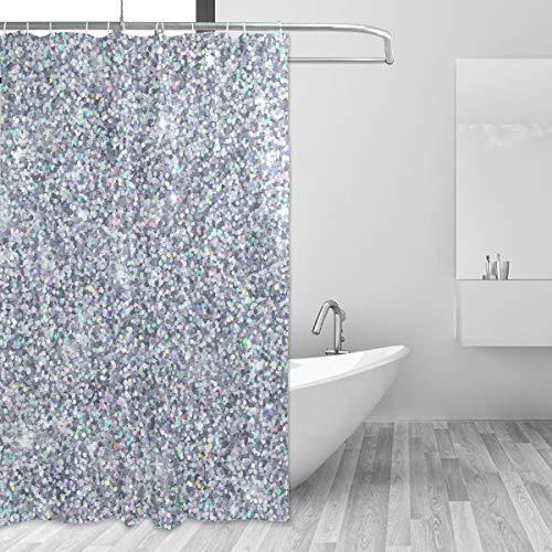 Mnsruu Silberner Duschvorhang, Badezimmer-Duschvorhang, Stoff, wasserdicht, für Bad, Heimdekoration, 150 x 180 cm, mit 12 Haken (kein Glitzer)