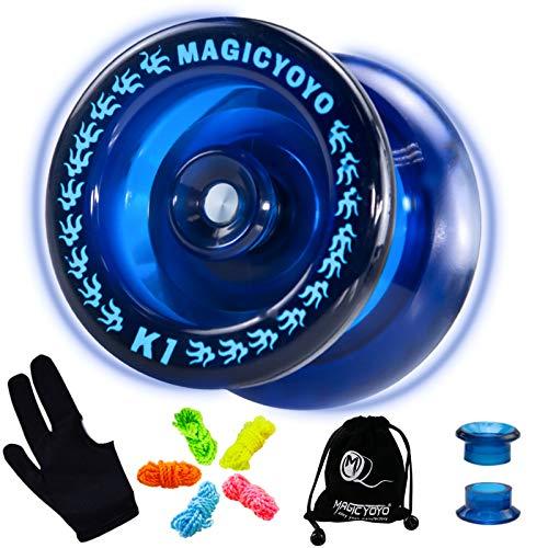 MAGICYOYO Responsive YoYo K1 Plus Hubstack Yoyo,Plastic Yoyo for Kids, Basic Yo-yo with Yoyo Bag + 5 Strings + Yo-Yo Glove Gift (K1 Dark Blue)