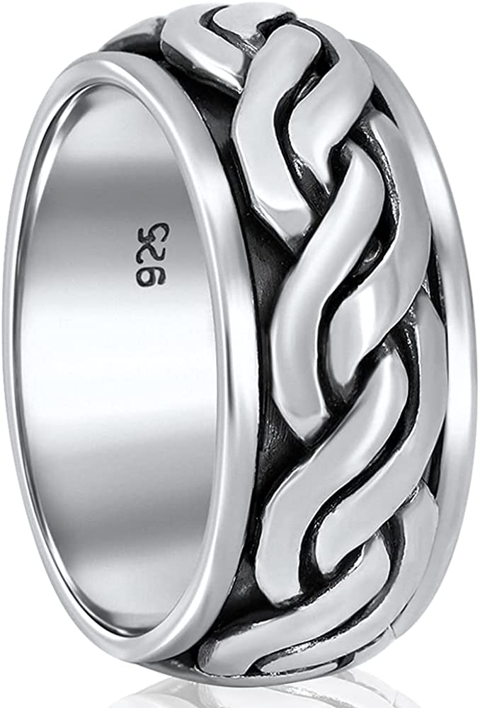 Rope Mosaic San Diego Mall At the price – Solid 925 Sterling Silver Ring for Spinner - S Men