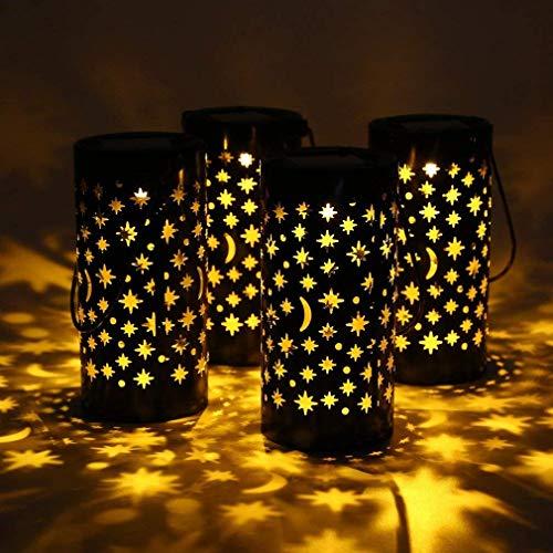 Cozime Torcia da giardino, torcia solare, luce da giardino in 4 pezzi, impermeabile IPX4, lanterna decorativa marocchina con manico, per terrazza/prato/corridoio/Halloween/festa di Natale