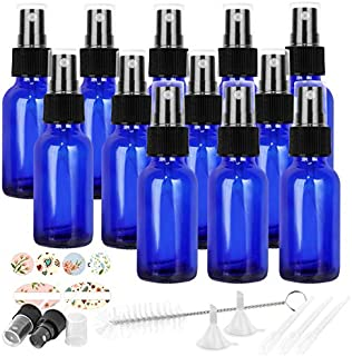 12 Pack 30 ml 1 oz Blue Glass Spray Bottles with Fine Mist Sprayer & Dust Cap for Essential Oils, Perfumes,Cleaning Produc...