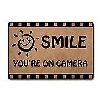 """ST Funny Door Mat Smile You ' re ON Camera Monogram Rugs Welcome Mat Non-Slip Rubber Mat Indoor / Outdoor Mat Funny Kitchen / Bathroom Rug And Mat Custom Doormat Hello Doormat 23.6 """"(W)X 15.7 bf1613b366 75x45cm"""