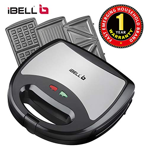 iBELL SM301 750 Watt 3 in 1 Sandwich Maker(Toast/Waffle/Grill),Black