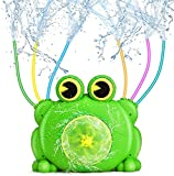 QPAU Rana Aspersor para Niños, Agua de Rociadores de Rana Al Aire Libre con Tubos Móviles, Aspersor de Agua para Patio Trasero & Césped, Niñas & Niños, Rociador Agua Rana para el Día de Verano
