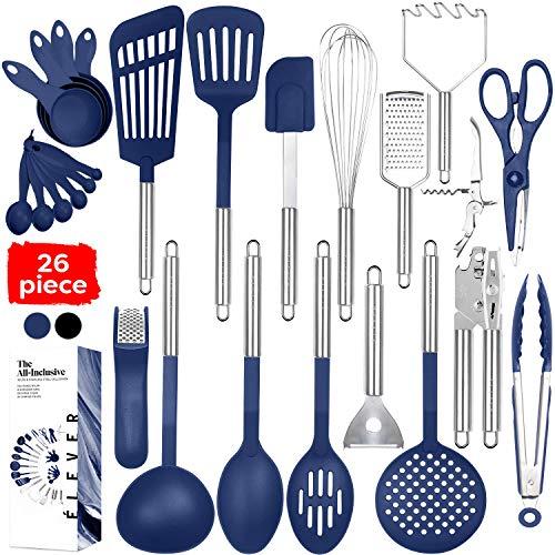 Kitchen Utensil Set - 26 Kitchen Gadgets & Cooking Utensils. Stainless Steel Kitchen Utensils for Nonstick Cookware Set. Spatula Set. Best Kitchen Tools Apartment Essentials Gifts for him -
