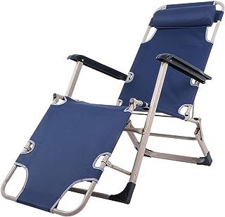 Ejoyous Silla de Playa, Sillón Reclinable Plegable Multifuncional con Reposabrazos Yajuste de Dos Velocidades, para Acampar En El Jardín Al Aire Libre 176x47x40cm (Azul)(Azul)