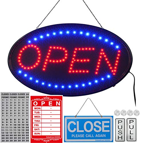 LED Open Sign,23x14inch (Bigger Size) LED Business Open Sign Include Business Hours Sign and Open/Close Sign for Storefront,Advertisement,Walls,Window,Shop,Bar,Hotel