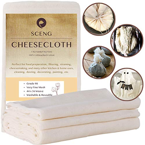 Cheesecloth, Grade 90, 9 Sq Feet, 100% Unbleached Cotton Fabric, Ultra Fine Reusable Cheese Cloth for Cooking, Straining (Grade 90-1Yards)