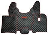 Set of RIGHT HAND DRIVE Floor Mats Carpet Truck Accessories Decoration BLACK RED Eco Leather
