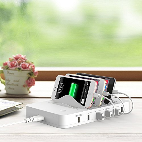 [Quick Charge 3.0] HITRENDS Charging Station Dock, Qualcomm QC 3.0 Cell Phone Charging Station Valet, USB Charging Hub Organizer for Smartphone Tablet Multiple Devices