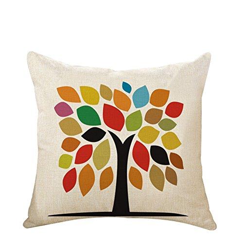 Housse de coussin Bigboba en lin - Motif : arbre de la vie - Parfait pour décorer un lit ou un canapé - Taille : 45 x 45 cm, Lin, Love the Tree of Life, 45 × 45CM