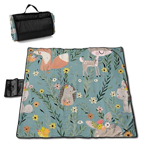 Singledog Manta de Picnic Floral Fox Bunny Deer Hedgehog Beach Mat Tote Pad Handy Mat 145X150CM