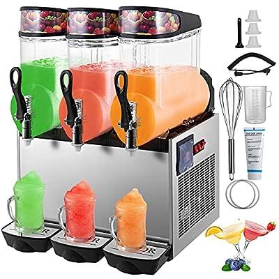 VEVOR 110V Slushy Machine 12Lx3 Bowl Frozen Drink 900W Margarita Maker for Supermarkets Restaurants Commercial Use, 36L, Sliver