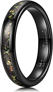 4mm Opal Rings for Women Black/Rose Gold Tungsten Engagement Wedding Gifts Bands