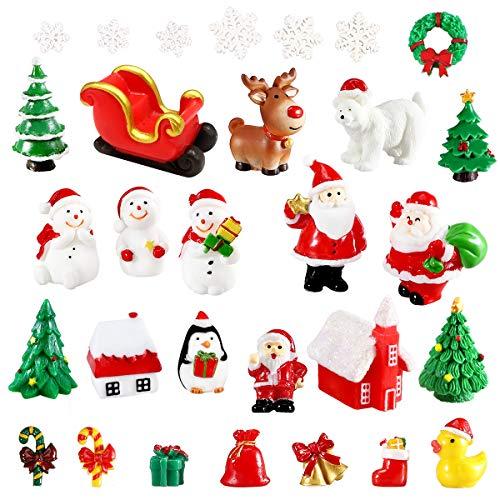 Urradia 30Pcs Christmas Miniature Figurines for Crafts Mini Ornaments Christmas Village Accessories Snow Globes Kits Fairy Garden Dollhouse Decorations for Xmas Party Santa Claus Snowman Reindeer