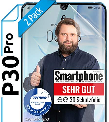 [2 Stück] 3D Schutzfolien kompatibel mit Huawei P30 Pro - [Made in Germany - TÜV NORD] - HD Displayschutz-Folie - Hüllenfreundlich – Transparent – kein Schutz-Glas - Panzer-Folie TPU - Klar