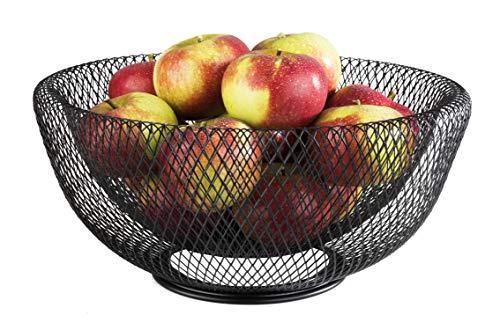 """APS Brot- & Obstkorb """"Wire"""" – Premium Brotkorb/Obstkorb in der Farbe Metall Schwarz – Stapelbar und langlebig mit der Abmessung 31 x 14cm"""