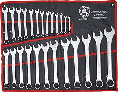 Kraftmann 1198 | Maul-Ringschlüssel-Satz | 25-tlg. | SW 6 - 32 mm | inkl. Tetron-Rolltasche | Gabelringschlüssel