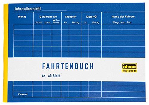 Idena 314250 - Fahrtenbuch, DIN A6 für 390 Fahrten, doppelseitig bedruckt, holzfreies Papier, 40 Blatt, 1 Stück