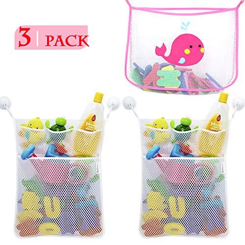 Imagen para NEPAK 3 Pcs Red de Baño Almacenamiento Bolsa de Juguete + 6 Piezas Ganchos,Almacenamiento de Juguetes Baño para Bebés, Toy Storage Net para Baby Bath Toys y más