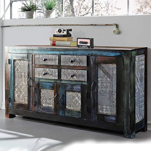 Sideboard Goa 180 cm Kommode Wohnzimmer Massivholz Mango Vintage Look von Wolf Möbel