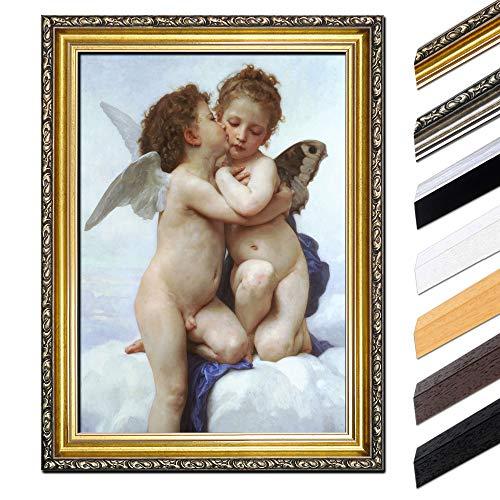 Bild mit Rahmen - William-Adolphe Bouguereau Der erste Kuss 30x40 cm - Gerahmtes Leinwandbild Alte Meister - Antiker Rahmen Gold Barock, Klassisch