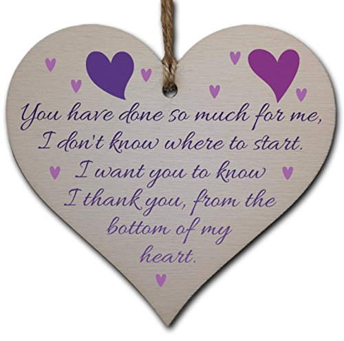 Handmade Wooden Hanging Heart Plaque Gift for Someone Special Thank you...