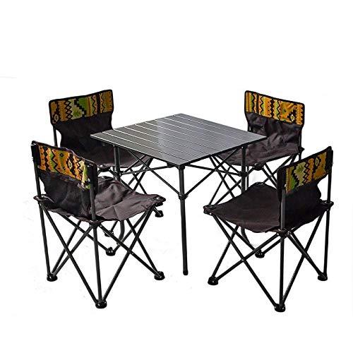 DX Klapptisch Outdoor-Tisch Tragbarer Tisch und Stuhl Kombination Barbecue Camping Tisch Aluminium Fünfteiliges Set EIN Tisch Vier Stuhl Set